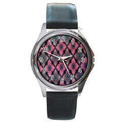 Flower Pink Gray Round Metal Watch by Jojostore