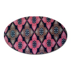 Flower Pink Gray Oval Magnet by Jojostore