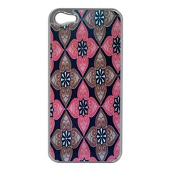 Flower Pink Gray Apple Iphone 5 Case (silver)