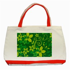 Flower Yellow Green Classic Tote Bag (red)