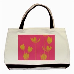 Flower Yellow Pink Basic Tote Bag (two Sides)