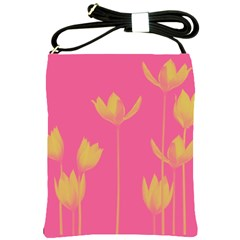 Flower Yellow Pink Shoulder Sling Bags by Jojostore