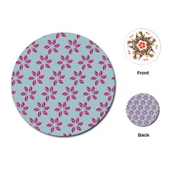 Flowers Fushias On Blue Sky Playing Cards (round)
