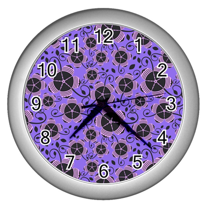Flower Floral Purple Wall Clocks (Silver)