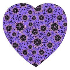 Flower Floral Purple Jigsaw Puzzle (heart) by Jojostore