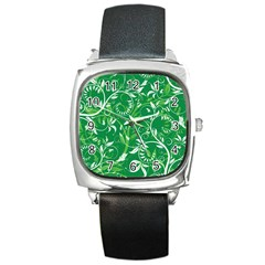 Leaf Flower Butterfly Green Square Metal Watch