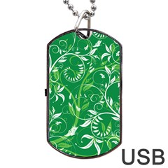 Leaf Flower Butterfly Green Dog Tag Usb Flash (two Sides)