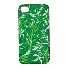 Leaf Flower Butterfly Green Apple Iphone 4/4s Hardshell Case With Stand by Jojostore