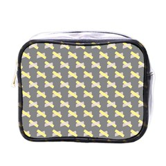 Hearts And Yellow Crossed Washi Tileable Gray Mini Toiletries Bags by Jojostore