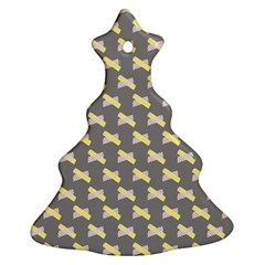 Hearts And Yellow Crossed Washi Tileable Gray Christmas Tree Ornament (two Sides) by Jojostore