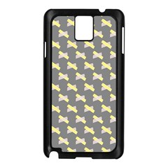 Hearts And Yellow Crossed Washi Tileable Gray Samsung Galaxy Note 3 N9005 Case (black) by Jojostore