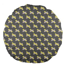 Hearts And Yellow Crossed Washi Tileable Gray Large 18  Premium Flano Round Cushions by Jojostore