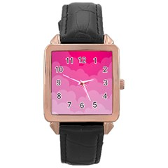 Lines Pink Cloud Rose Gold Leather Watch