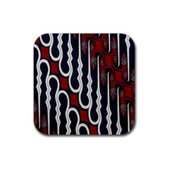 Batik Jogja Red Black Rubber Square Coaster (4 Pack)  by Jojostore