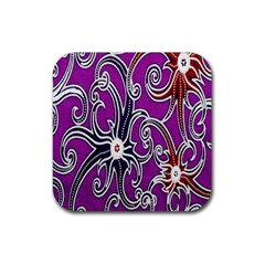 Batik Jogja Rubber Square Coaster (4 Pack)  by Jojostore