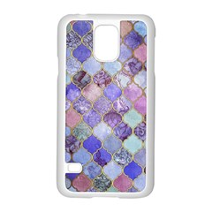 Gorgeous Blue Moroccan Mosaic Samsung Galaxy S5 Case (white)