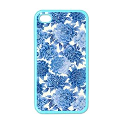 Blue Flowers Apple Iphone 4 Case (color)