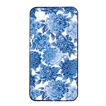 Blue flowers Apple iPhone 4/4s Seamless Case (Black) Front