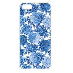 Blue Flowers Apple Iphone 5 Seamless Case (white) by Brittlevirginclothing