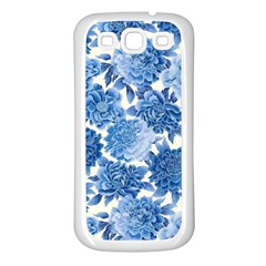 Blue Flowers Samsung Galaxy S3 Back Case (white)