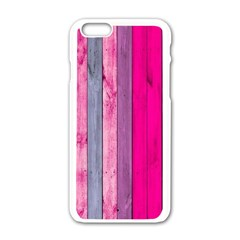 Pink Wood  Apple Iphone 6/6s White Enamel Case by Brittlevirginclothing