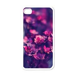 Blurry Lila Flowers Apple Iphone 4 Case (white) by Brittlevirginclothing