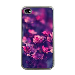 Blurry Lila Flowers Apple Iphone 4 Case (clear)
