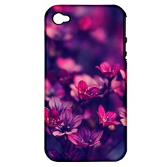 Blurry Lila Flowers Apple Iphone 4/4s Hardshell Case (pc+silicone) by Brittlevirginclothing