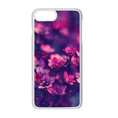 Blurry Lila Flowers Apple Iphone 7 Plus White Seamless Case by Brittlevirginclothing