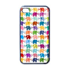Cute Colorful Elephants Apple Iphone 4 Case (black) by Brittlevirginclothing