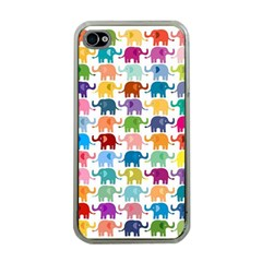 Cute Colorful Elephants Apple Iphone 4 Case (clear) by Brittlevirginclothing