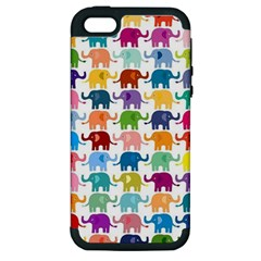 Cute Colorful Elephants Apple Iphone 5 Hardshell Case (pc+silicone) by Brittlevirginclothing