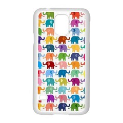 Cute Colorful Elephants Samsung Galaxy S5 Case (white)