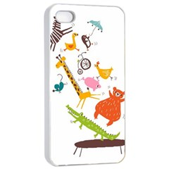Cute Cartoon Animals Apple Iphone 4/4s Seamless Case (white) by Brittlevirginclothing