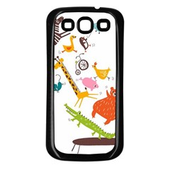 Cute Cartoon Animals Samsung Galaxy S3 Back Case (black) by Brittlevirginclothing
