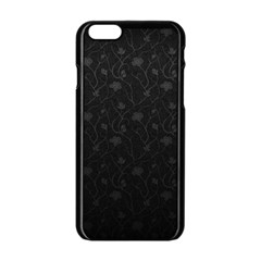 Dark Silvered Flower Apple Iphone 6/6s Black Enamel Case