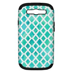 Blue Mosaic  Samsung Galaxy S Iii Hardshell Case (pc+silicone) by Brittlevirginclothing