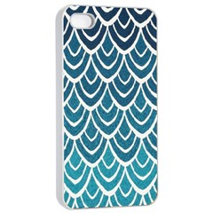 Blue Fish Sclaes  Apple Iphone 4/4s Seamless Case (white) by Brittlevirginclothing