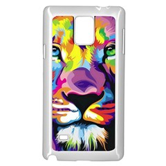 Colorful Lion Samsung Galaxy Note 4 Case (white) by Brittlevirginclothing