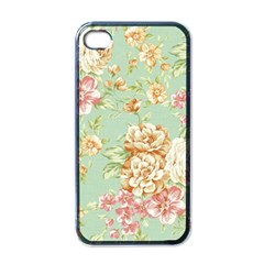 Vintage Pastel Flowers Apple Iphone 4 Case (black) by Brittlevirginclothing