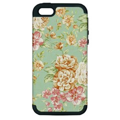 Vintage Pastel Flowers Apple Iphone 5 Hardshell Case (pc+silicone) by Brittlevirginclothing