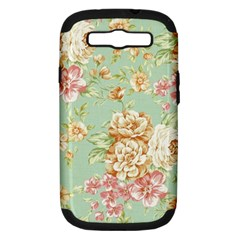 Vintage Pastel Flowers Samsung Galaxy S Iii Hardshell Case (pc+silicone) by Brittlevirginclothing