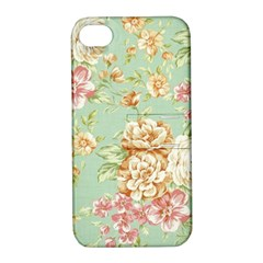 Vintage Pastel Flowers Apple Iphone 4/4s Hardshell Case With Stand by Brittlevirginclothing