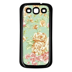 Vintage Pastel Flowers Samsung Galaxy S3 Back Case (black)