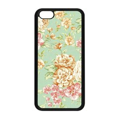 Vintage Pastel Flowers Apple Iphone 5c Seamless Case (black) by Brittlevirginclothing