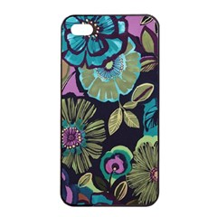 Dark Lila Flowers Apple Iphone 4/4s Seamless Case (black) by Brittlevirginclothing