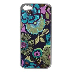 Dark Lila Flowers Apple Iphone 5 Case (silver) by Brittlevirginclothing