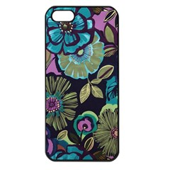 Dark Lila Flowers Apple Iphone 5 Seamless Case (black)