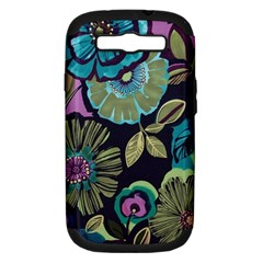 Dark Lila Flowers Samsung Galaxy S Iii Hardshell Case (pc+silicone) by Brittlevirginclothing