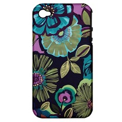 Dark Lila Flowers Apple Iphone 4/4s Hardshell Case (pc+silicone) by Brittlevirginclothing